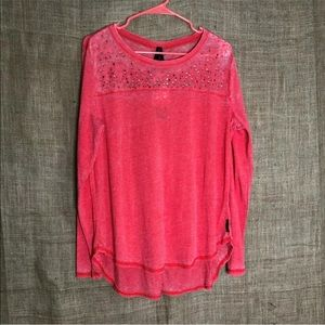Seven 7 Top L Pink Hi Lo Scoop Neck NEW Orig $48